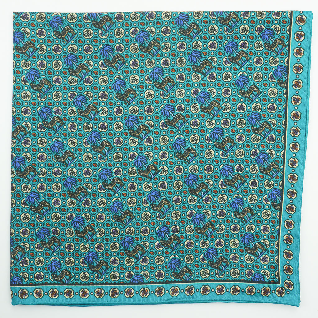 Turquoise zebra print silk pocket square