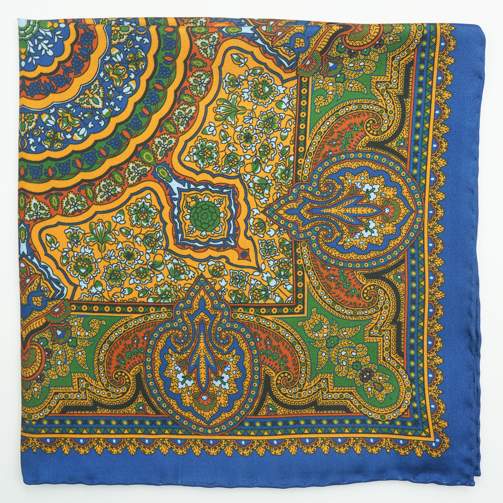 Royal blue floral print silk pocket square