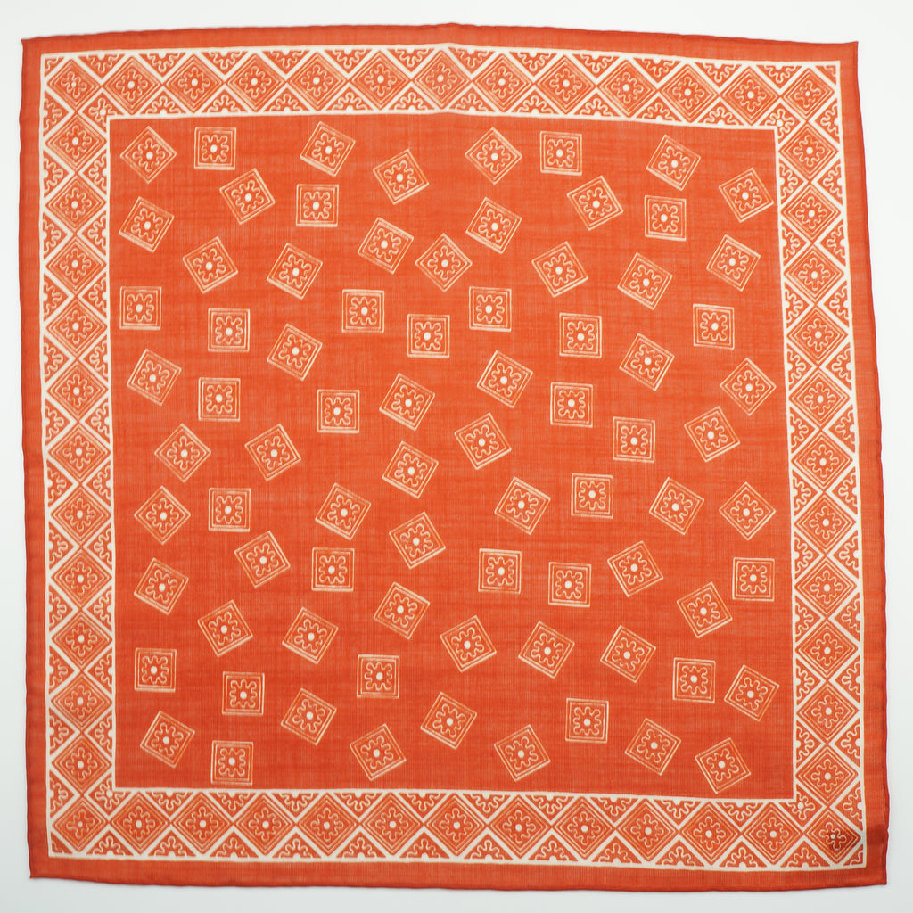 Orange bandana tile wool/silk pocket square