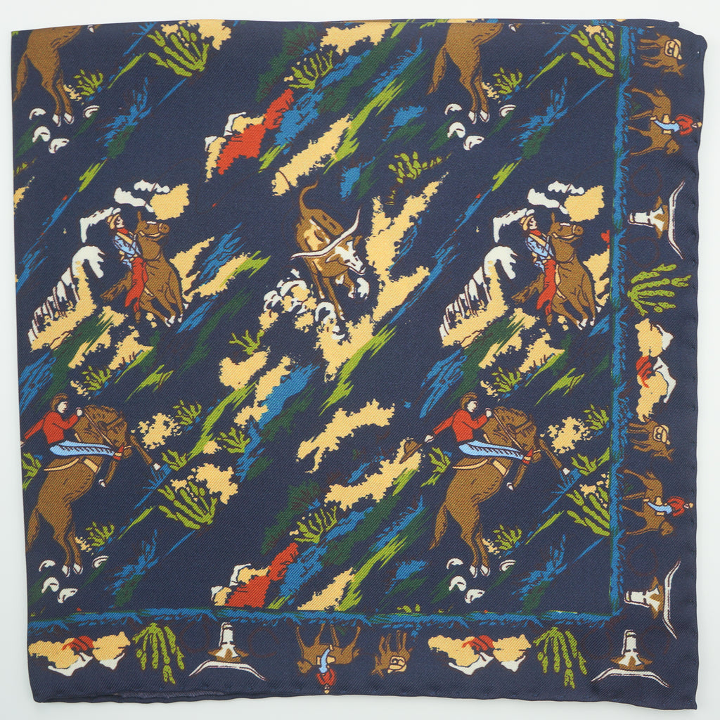 Navy cowboy print silk pocket square