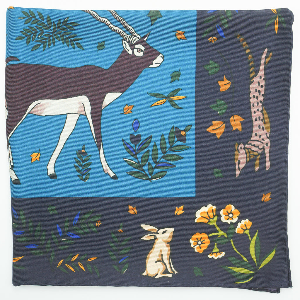 Navy & turquoise antelope print silk pocket square