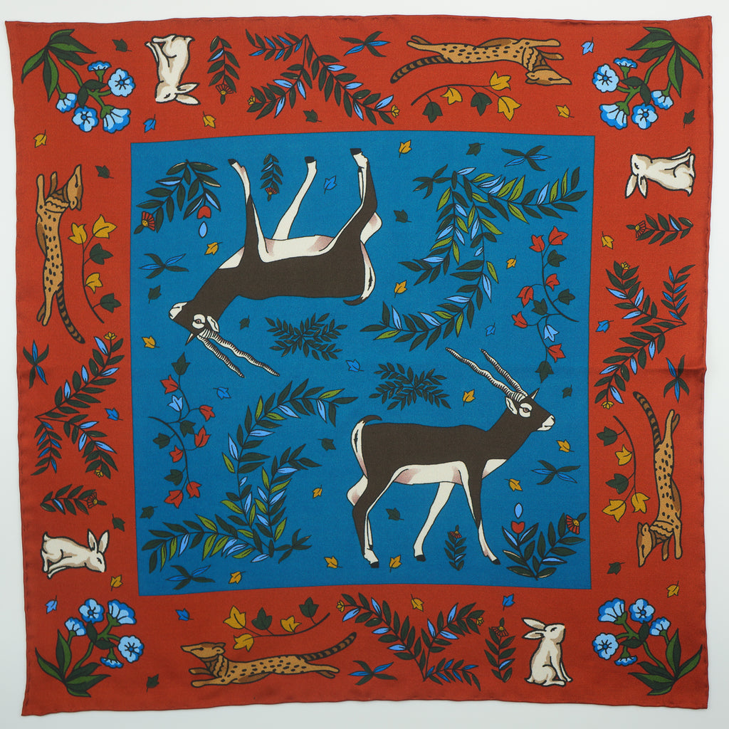 Rust & turquoise antelope print silk pocket square