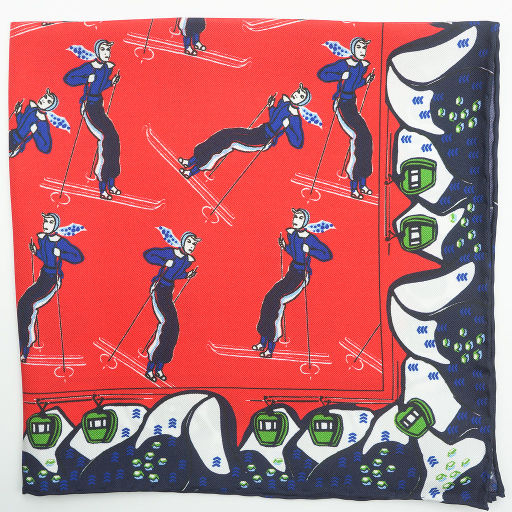Red & navy skier print silk pocket square