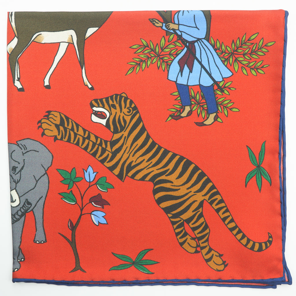 Red tiger & elephant print silk pocket square