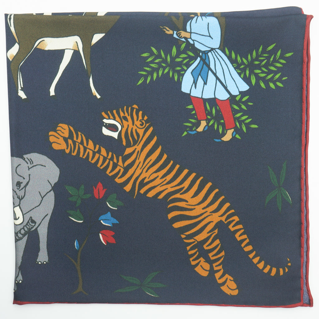 Navy tiger & elephant print silk pocket square