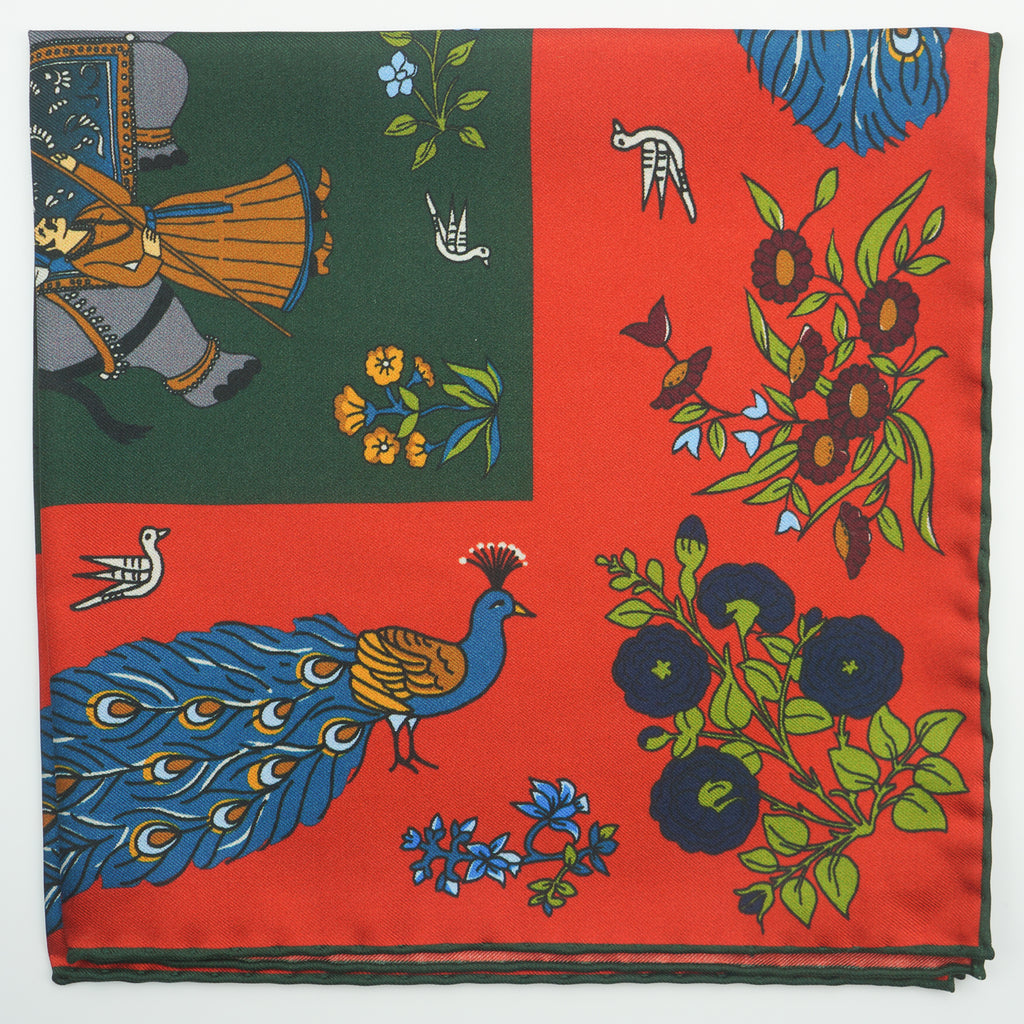 Orange elephant & peacock print silk pocket square