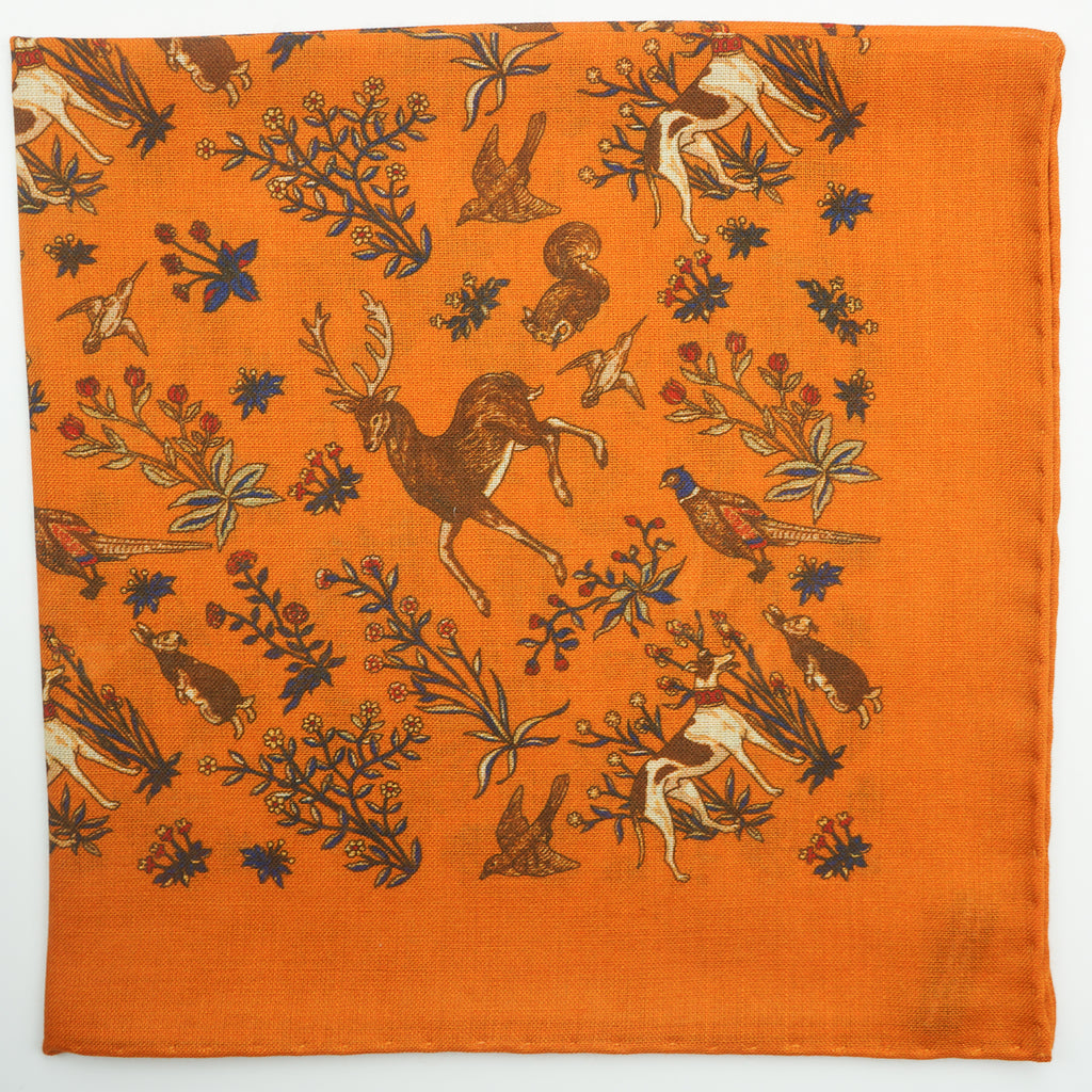 Ochre animal print wool/silk pocket square