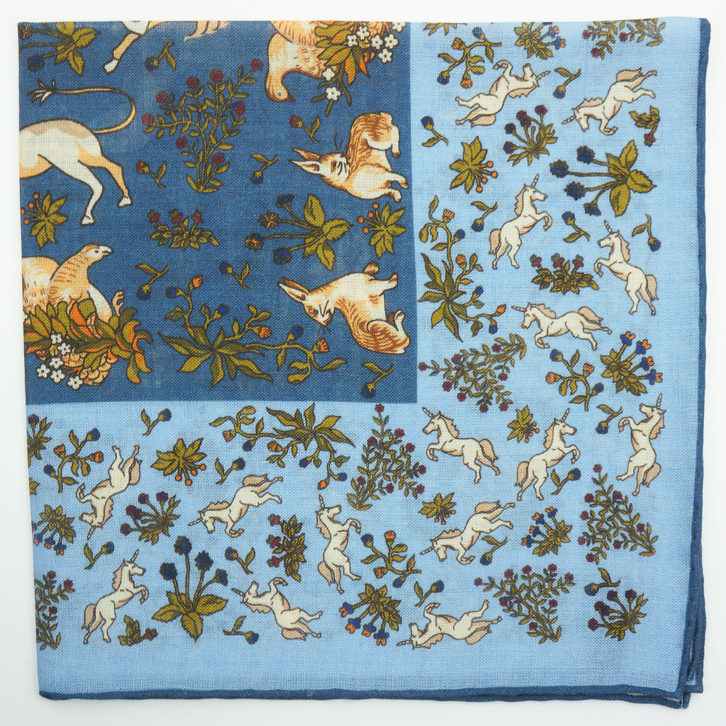 Blue unicorn print wool/silk pocket square