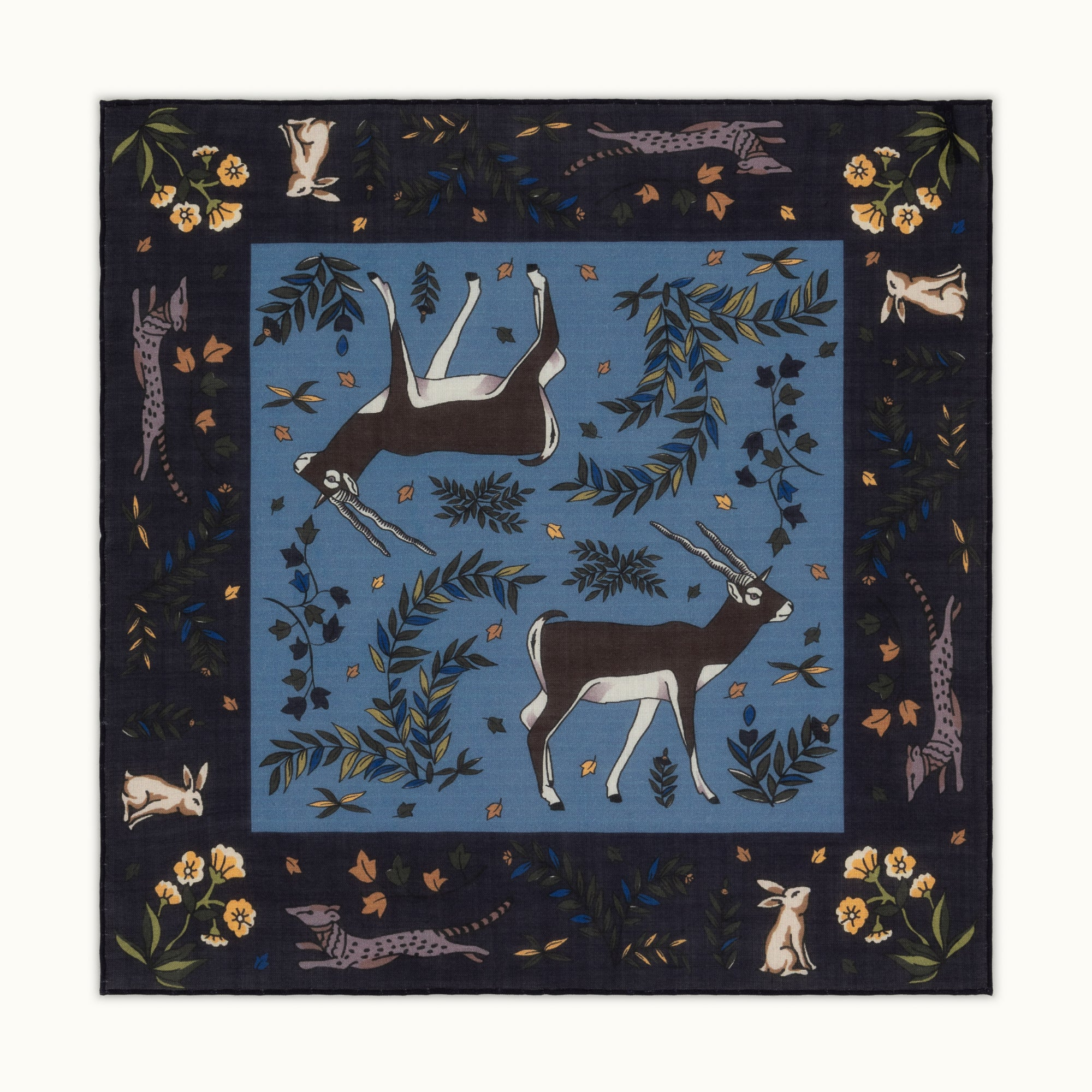 Navy Blue Antelope Motif Pocket Square