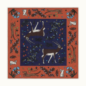 Orange & Purple Antelope Motif Pocket Square