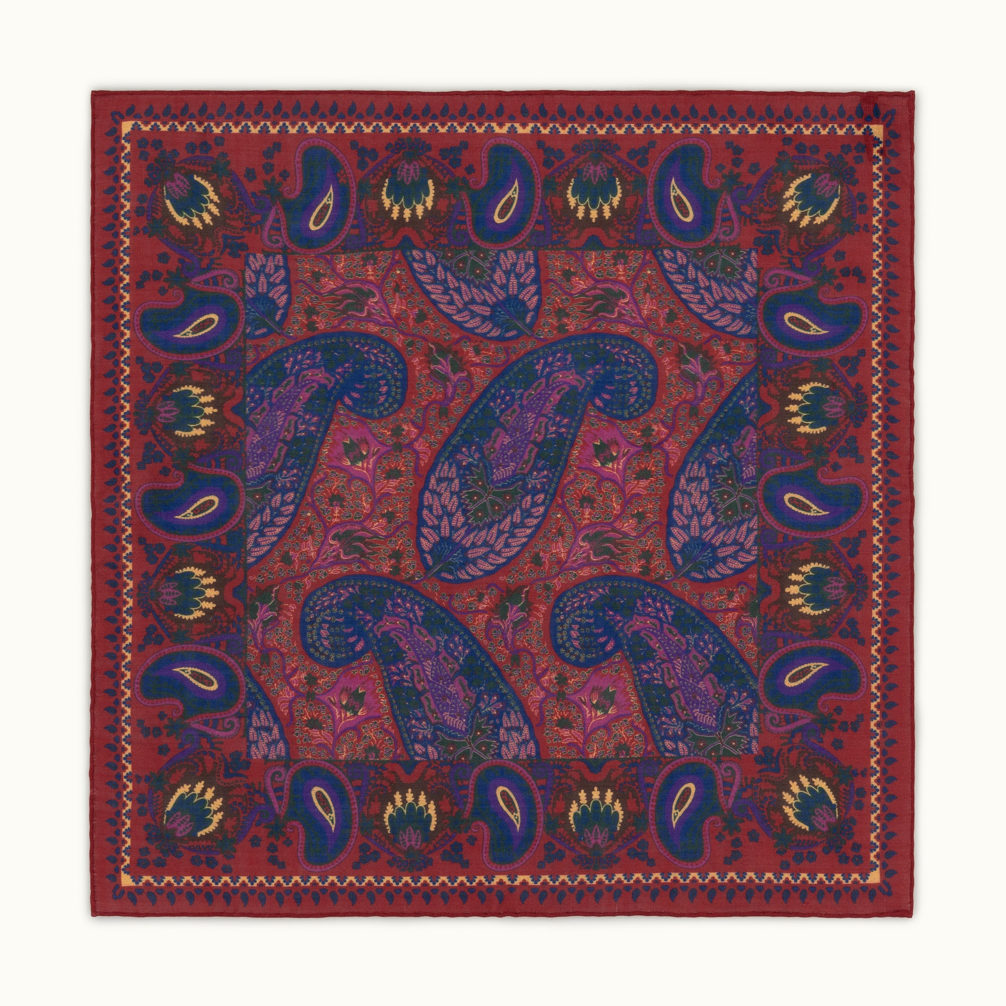 Red Paisley Motif Pocket Square