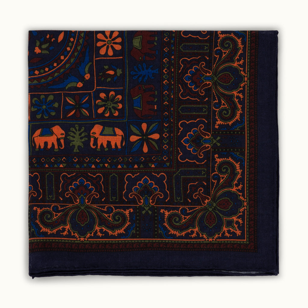Navy Blue Elephant Motif Pocket Square