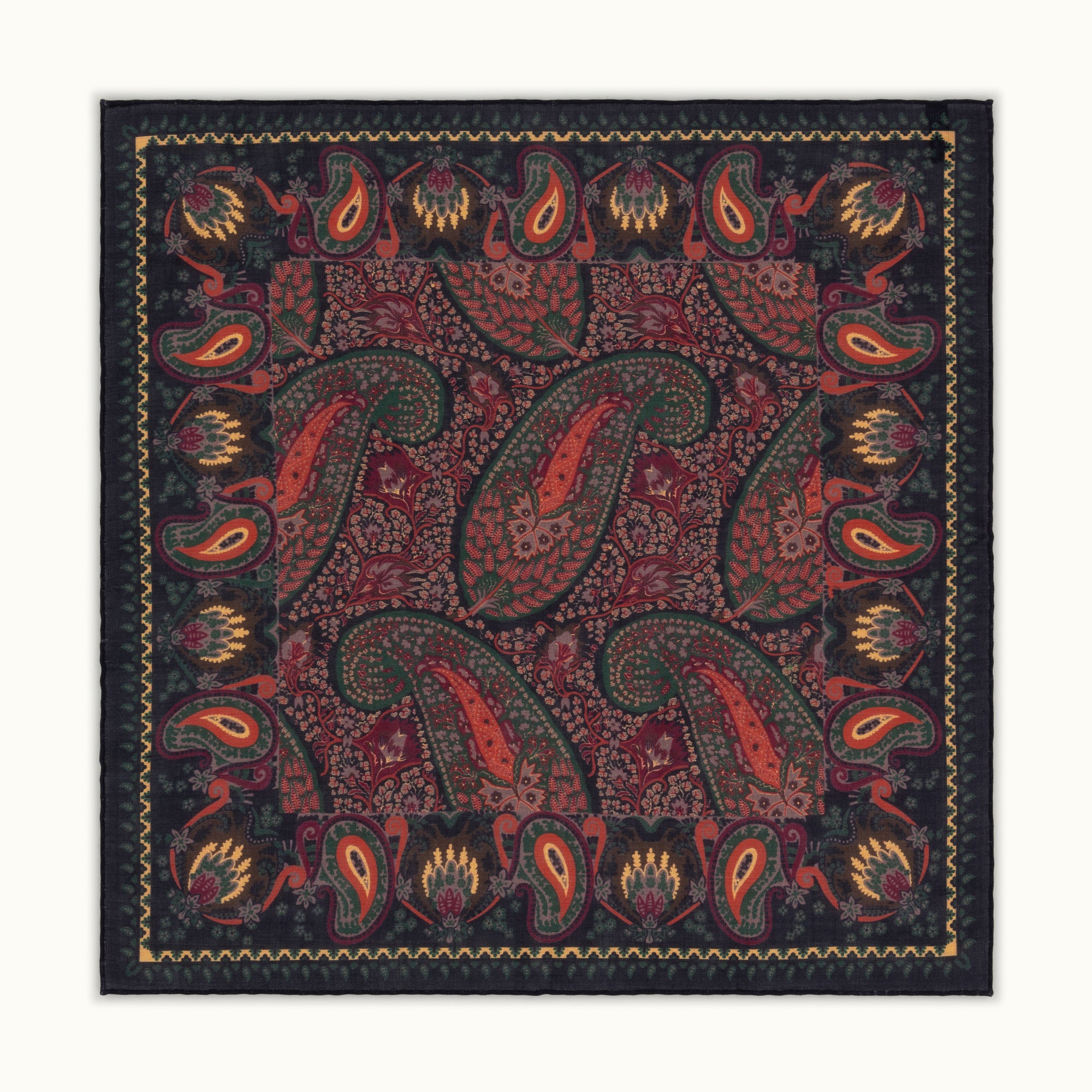 Navy Blue Paisley Motif Pocket Square