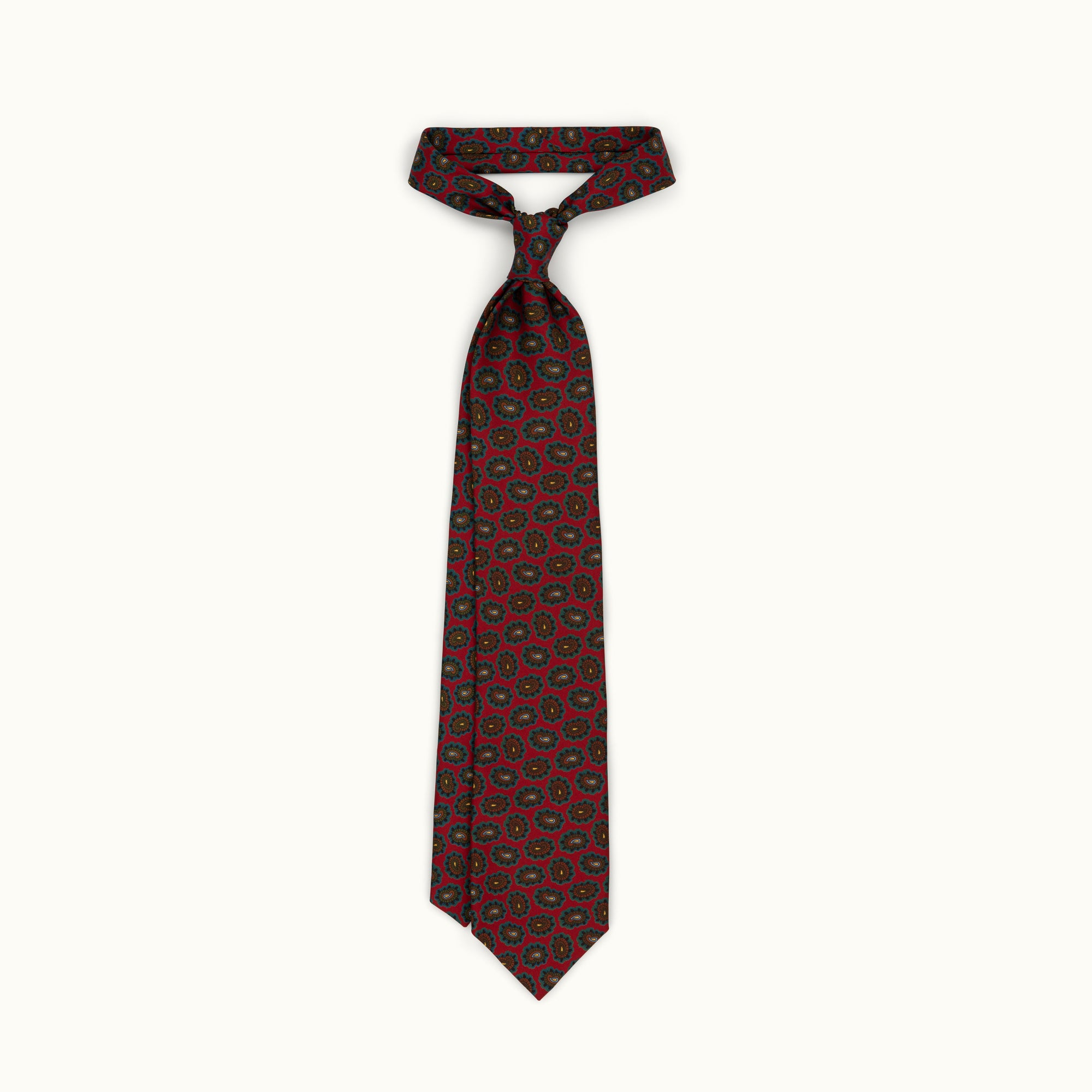 Dark Red Medallion Silk Print Tie
