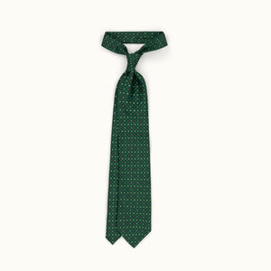 Green & Red Neat Silk Print Tie