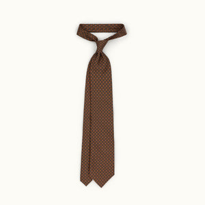Brown & Pink Neat Silk Print Tie