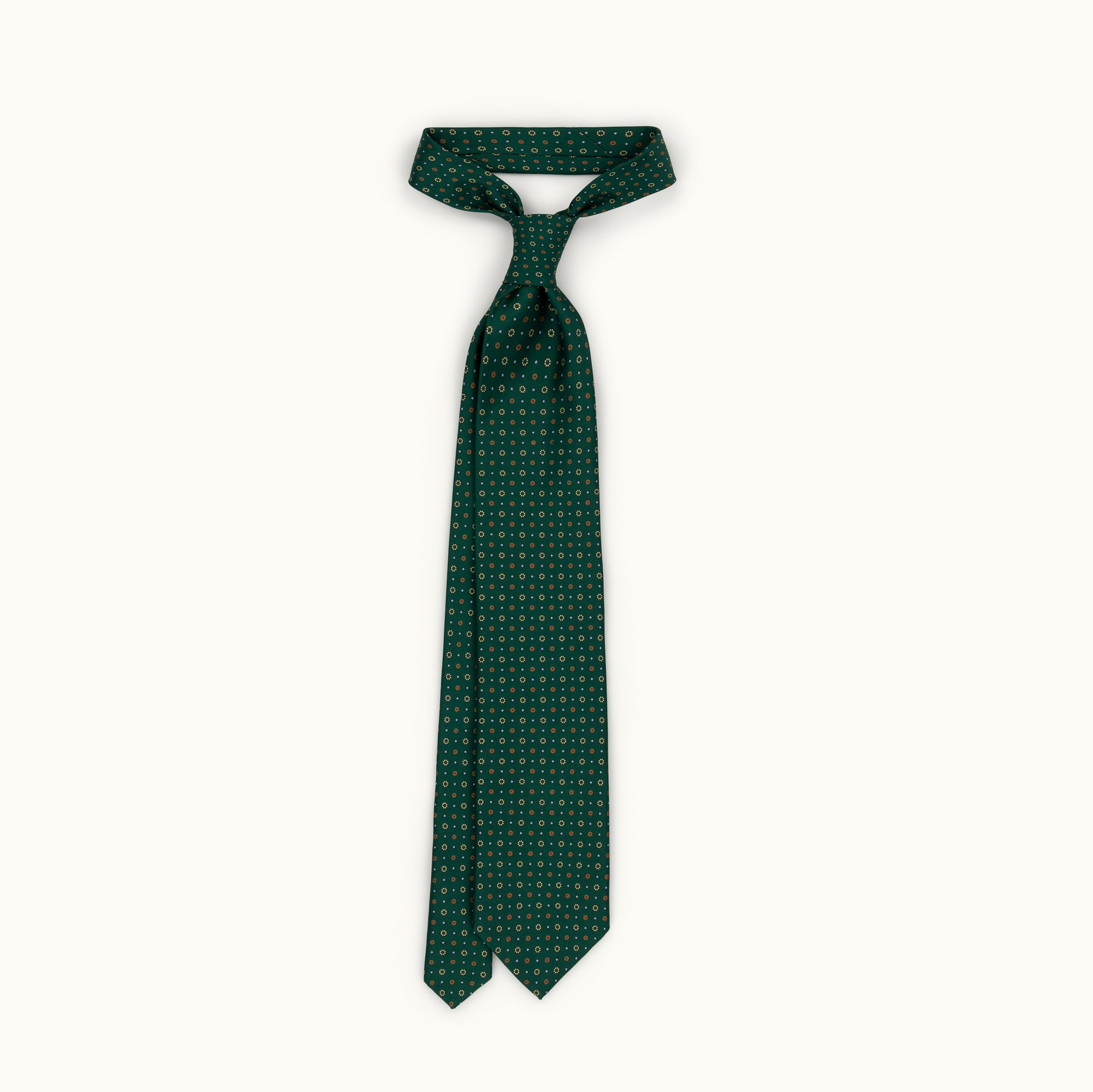Green & Orange Neat Silk Print Tie