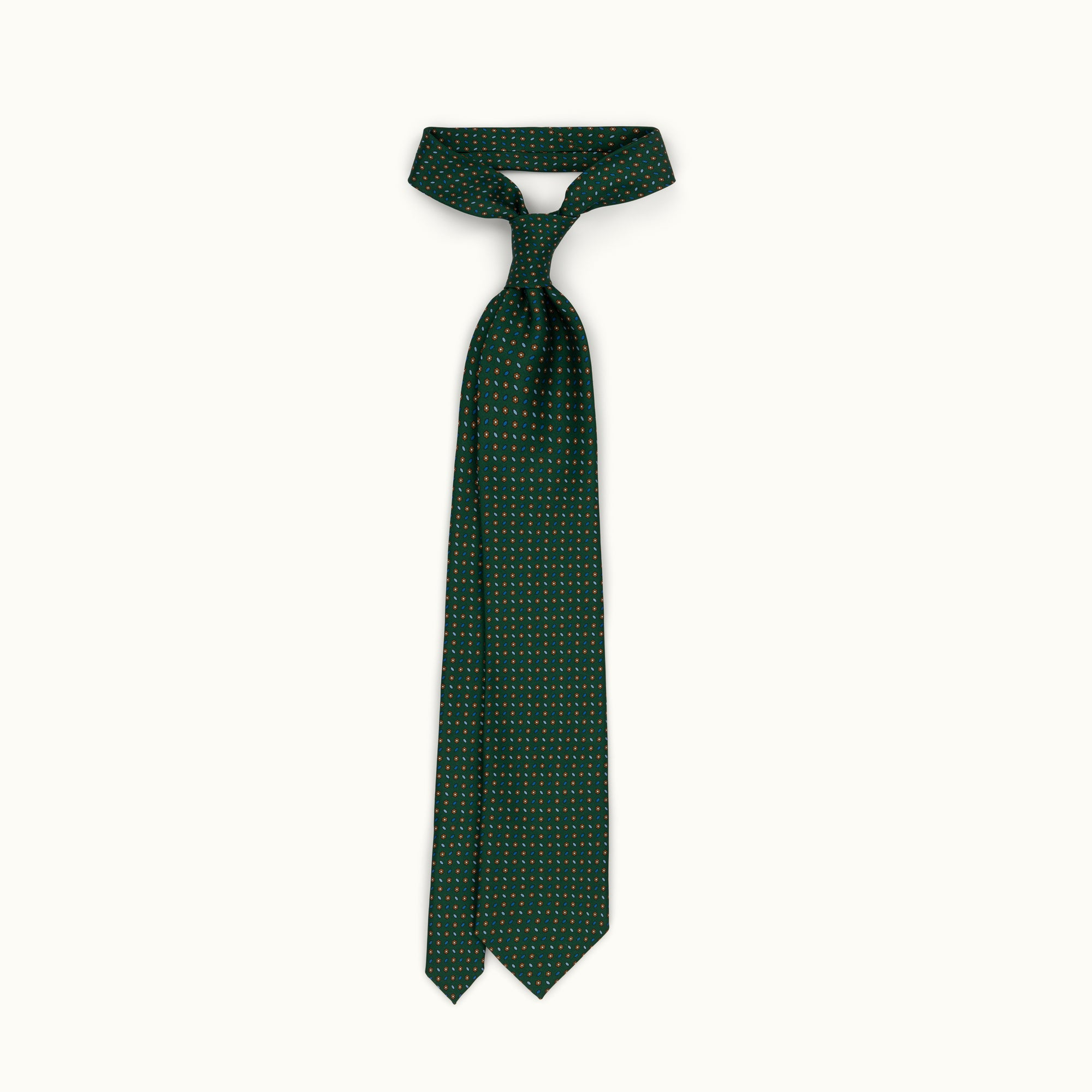 Green & Copper Neat Silk Print Tie