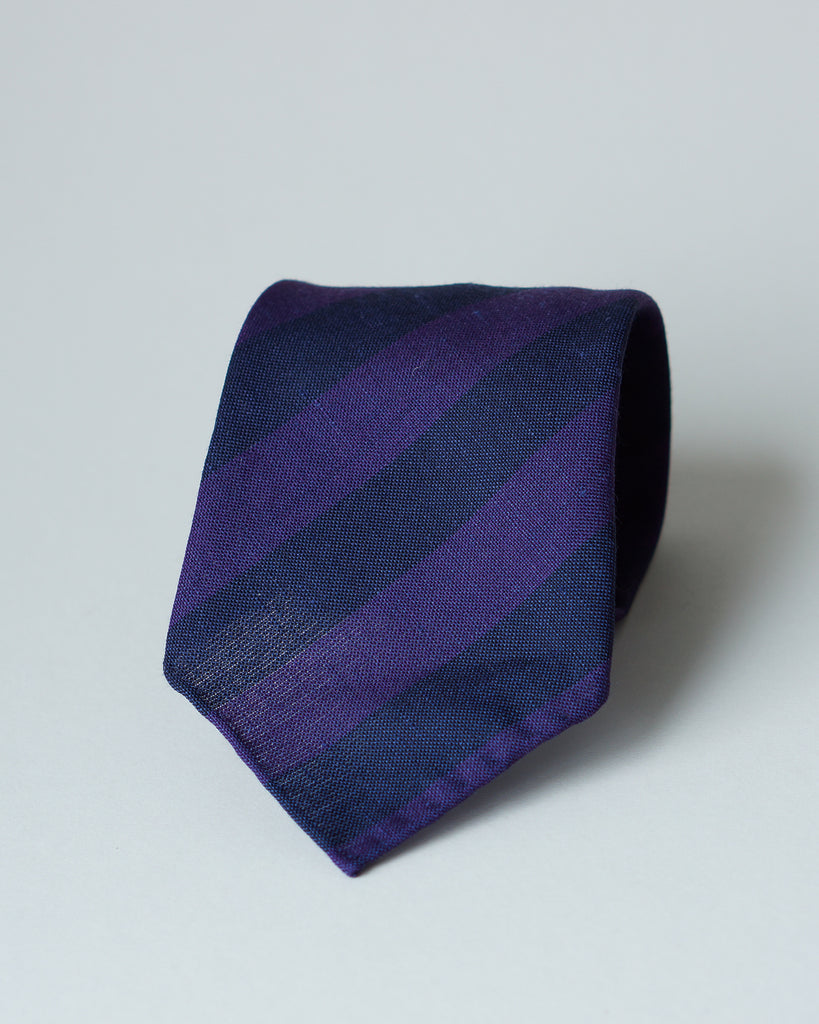 Purple & navy block stripe merino/linen tie