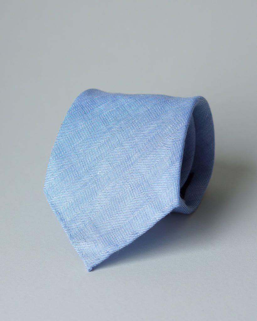 Light blue herringbone linen tie