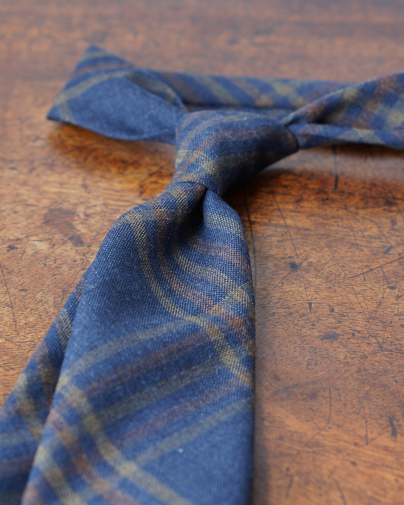 Navy & rust check Fox Air wool tie