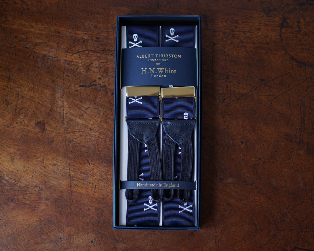 Navy blue skull & crossbones barathea braces
