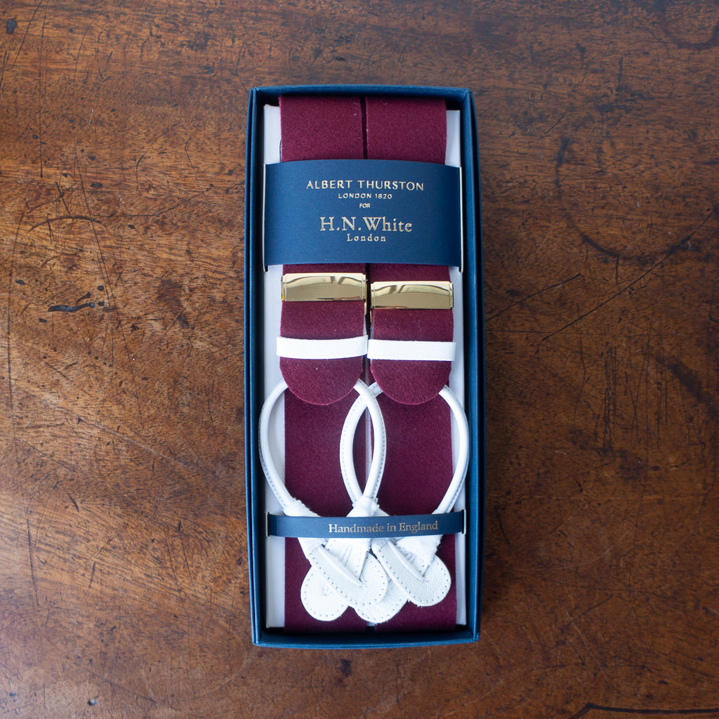 Burgundy boxcloth braces