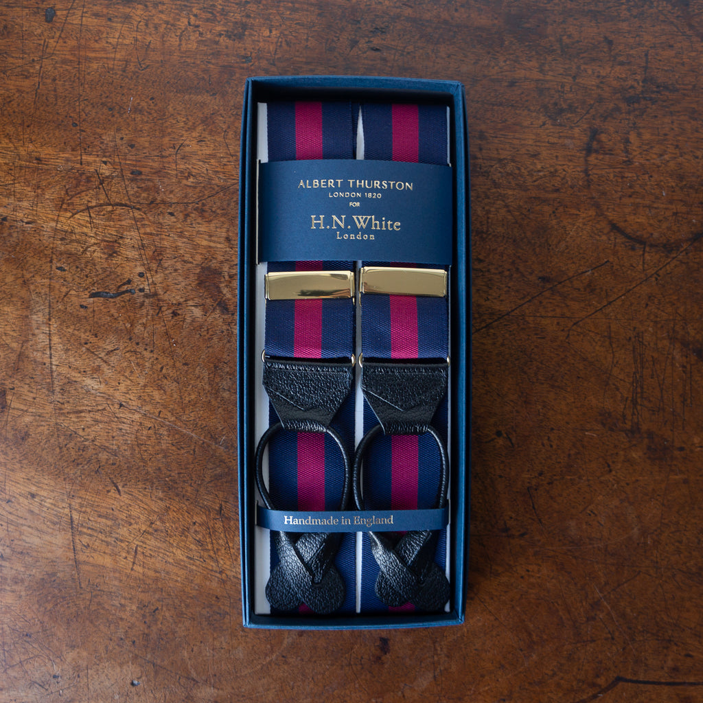 Navy/burgundy stripe barathea braces