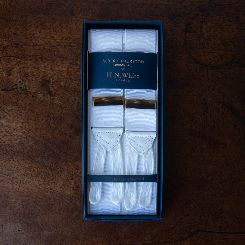 White moiré formal evening braces