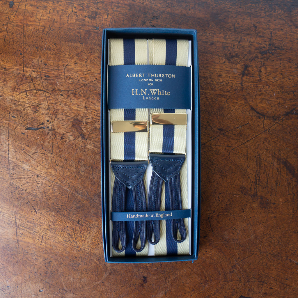 Gold & navy stripe barathea braces