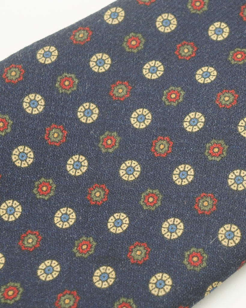 Navy red floral neat wool challis tie