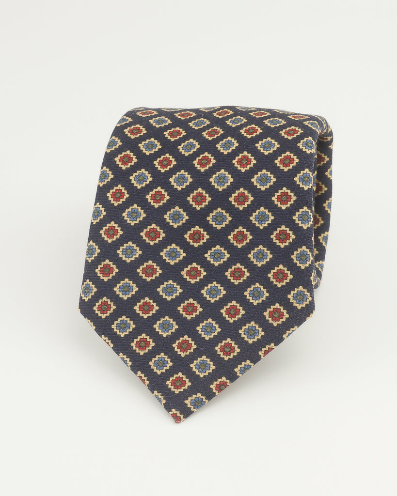 Navy diamond wool challis tie