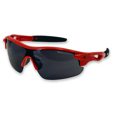 Childrens Warp red fixed frame cycling sunglasses | UV400 protection | VeloChampion