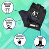 Kids Half Finger Cycling Mitts with padded palm, adjustable wrist strap, anti-slip grip - Black