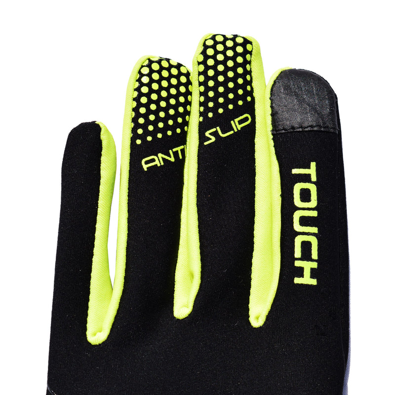VC Maxgear Black Windproof Running, Cycling, Hiking Gloves with zip storage pocket, reflective logo and fluorescent yellow trim.