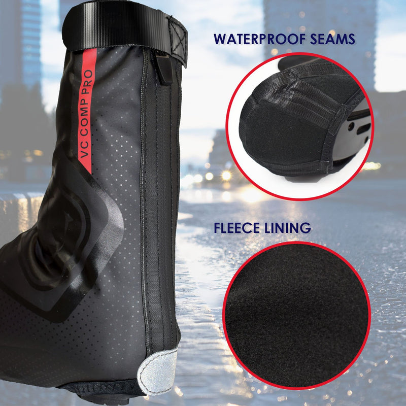 VeloChampion Overshoes - Lightweight, Fleece Lined & Water Resistant. Ideal for Winter Cycling
