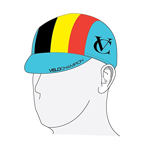 VeloChampion Under Helmet Cycling Cap - Belgian Flag Design - One Size - Velochampion