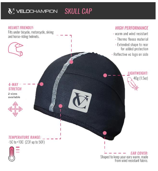 Cycling Skull Cap/Beanie with Thermotech Fleece Lining from Velochampion - Ideal for winter cycling