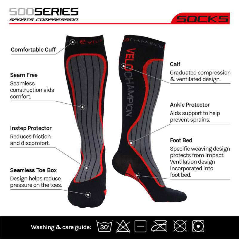 VeloChampion Compression Sports Socks - Ideal for Runners, Keeps Your Muscles Warm & Helps Prevent Injury