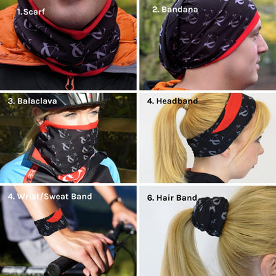 VC Cycling Neck Warmer Scarf Multifunctional Seamless Snood Scarf - 6 in 1 uses with UV protection