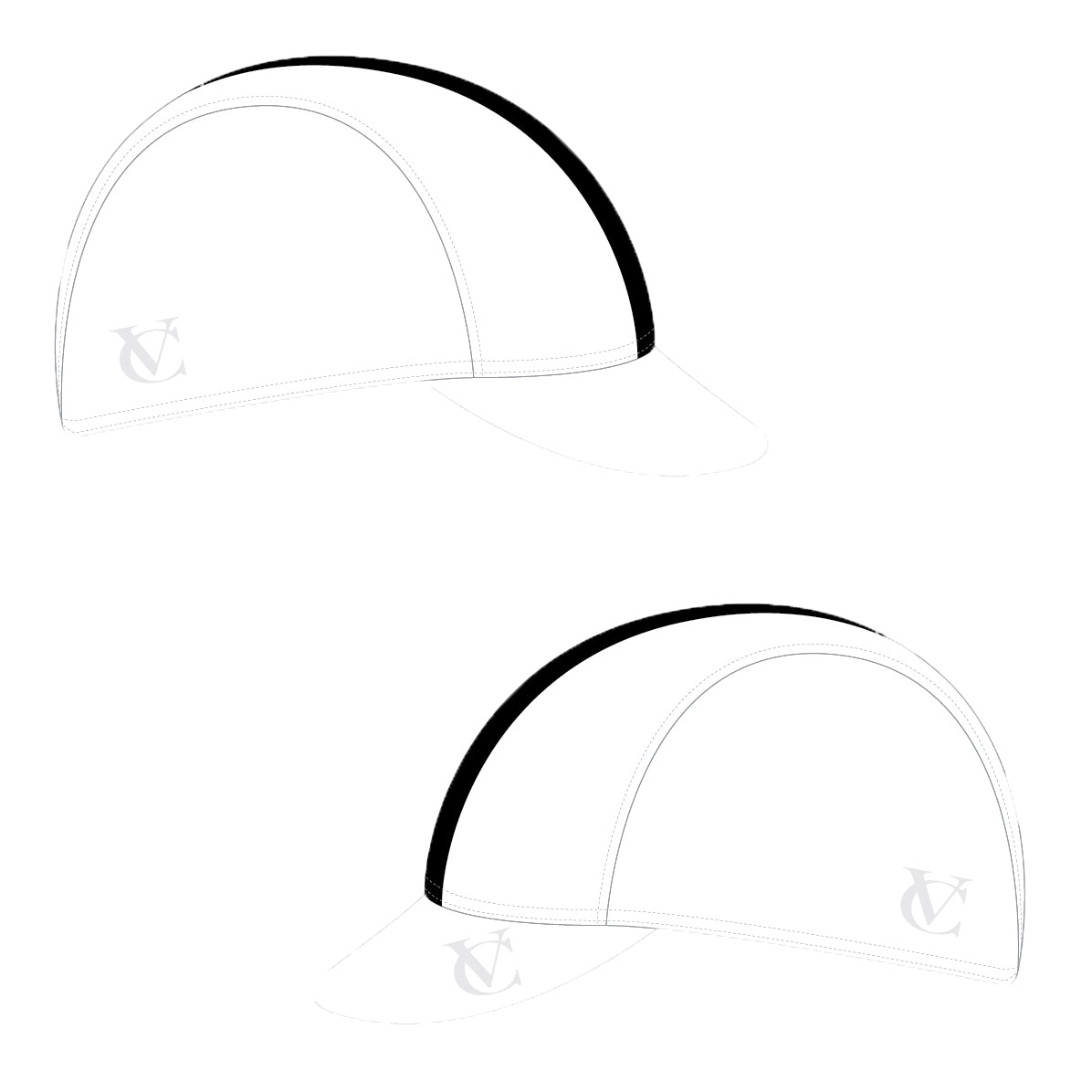 VeloChampion Cycling Tech Cap - White with Black Band