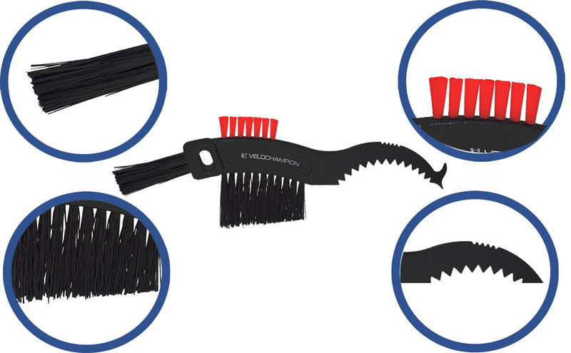VeloChampion Gear Cleaning / Cassette Brush - Easy to clean MTB, Hybrid, Road Bicycles - Velochampion