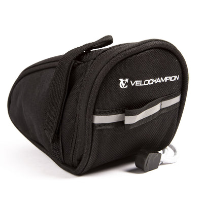 VeloChampion Cycling Speed Seat Pack Black MTB Saddle Bag, Back Pouch 1.2L