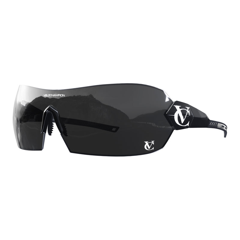 Hyoersonic cycling glasses with black frame, red lens and black nose piece  | VeloChampion