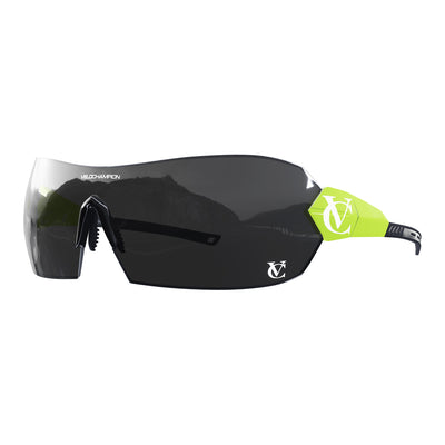Hypersonic cycling glasses with lime green frame, black lens and black nose piece | VeloChampion