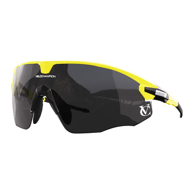 Missile customisable sunglasses with yellow frame, black lens and black nose piece | VeloChampion