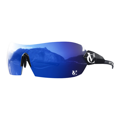 Hypersonic cycling glasses with black frame, blue lens and black nose piece  | VeloChampion