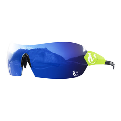 Hypersonic cycling glasses with lime green frame, blue lens and black nose piece | VeloChampion