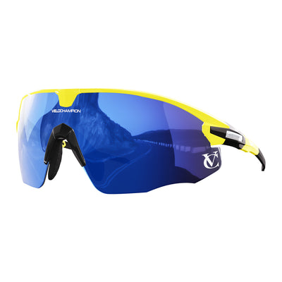 Missile customisable sunglasses with yellow frame, blue lens and black nose piece | VeloChampion