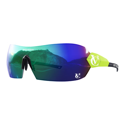 Hypersonic cycling glasses with lime green frame, green lens and black nose piece | VeloChampion
